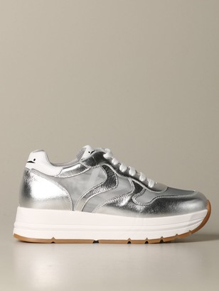 Voile Blanche Sneakers In Laminated Leather And Micro Mesh
