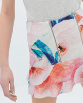 Zara Printed Skirt With Zip And Lining