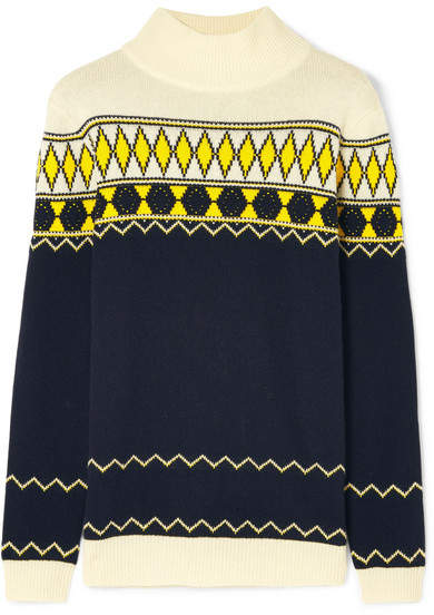 Maison Margiela Intarsia Wool-blend Turtleneck Sweater - Midnight blue
