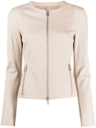 Drome Collarless Leather Jacket