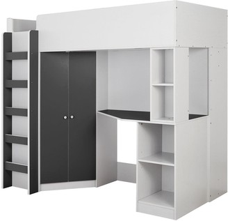 Miami Fresh High Sleeper Bed with Desk, Wardrobe and Shelves - Black