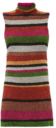Ashish Sequin-striped Open-back Mini Shift Dress - Multi
