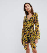 Missguided Printed Wrap Shirt Dress