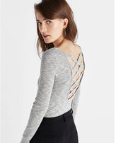 Express Marled Strappy Back Scoop Neck Sweater
