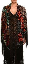 Missoni Floral Fringe Shawl, Black