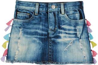 Flowers by Zoe Distressed Acid Wash Denim Skirt w/ Tassel Trim, Size S-XL