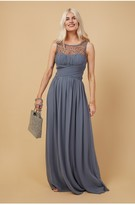 Thumbnail for your product : Little Mistress Bridesmaid Justice Gunmetal Embellished Maxi Dress