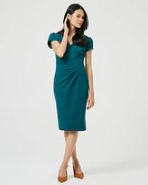 Le Château Knit Crepe Wrap-Like V-Neck Dress