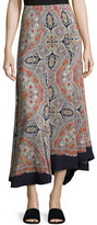 Theory Bitrah Premont Paisley-Print Silk Maxi Skirt, Multicolor