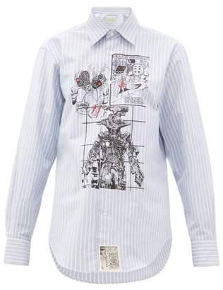 Aries Cartoon-print Pinstripe Cotton Shirt - Womens - Light Blue