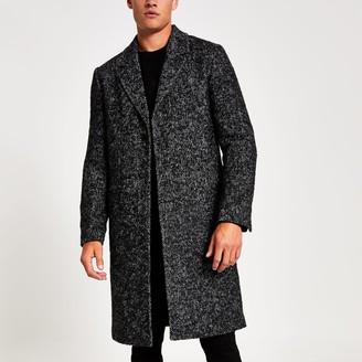 River Island Mens Grey Herringbone wool overcoat