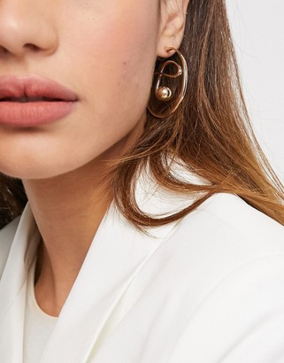 ASOS DESIGN hoop earrings in sculptural twist and ball design in gold tone