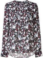 Veronica Beard floral print collarless shirt - women - Silk - 4