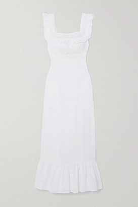 Loretta Caponi Margherita Lace-trimmed Broderie Anglaise Cotton-voile Nightdress - White