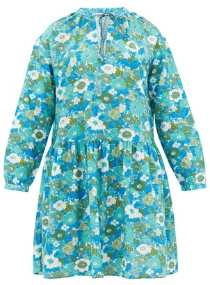 D'Ascoli Lulu Tie-neck Floral-print Cotton Dress - Womens - Blue Print