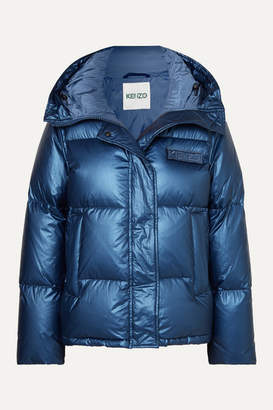 Kenzo Hooded Metallic Quilted Shell Down Jacket - Navy