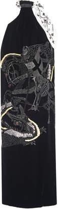 Lanvin Embellished Velvet Halterneck Midi Dress