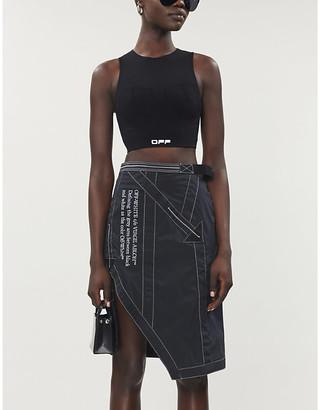 Off-White Logo-print high-waist shell midi skirt