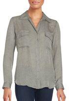 L'Agence Obique Striped Silk Shirt
