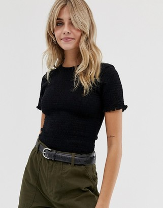 Asos DESIGN shirred fitted t-shirt with short sleeve
