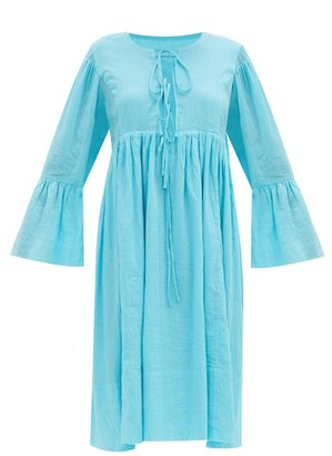 Loup Charmant Minerva Bell-sleeve Organic-cotton Dress - Blue