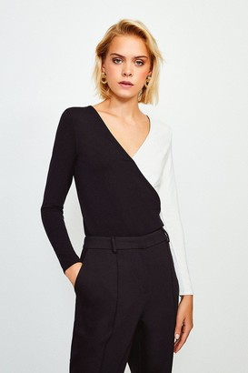Karen Millen Long Sleeve Colour Block Jersey Wrap Top