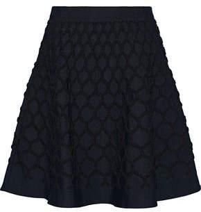 Oscar de la Renta Flared Cloque Mini Skirt