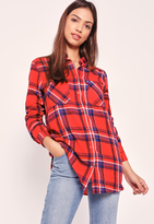 Missguided Brushed Checked Pocket Front Shirt Red