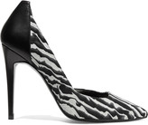 Pierre Hardy Paneled leather and zebra-print suede pumps