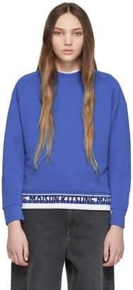 MAISON KITSUNÉ Blue Jacquard Fox Head Patch Sweatshirt