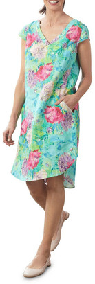Blue Illusion French Linen Printed Dress