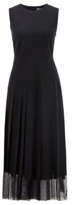 HUGO BOSS Sleeveless Dress In Satin Back Crepe With Fabric Stripes - Black