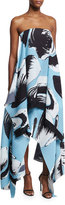 SOLACE London Hester Strapless Printed Cocktail Dress, Blue