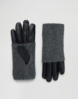 Pieces Leather Gloves with Jersey Hand Warmer