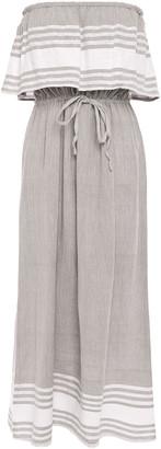 SUNDRESS Kelly Strapless Layered Cotton And Lurex-blend Gauze Beach Dress