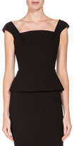 Roland Mouret Abbey Square-Neck Peplum Tank, Black