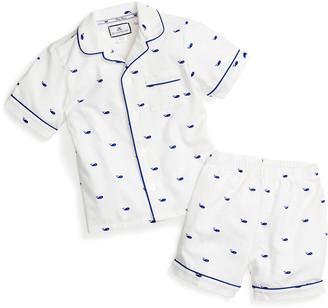 Petite Plume Boy's Whale 2-Piece Pajama Short Set, Size 6M-14