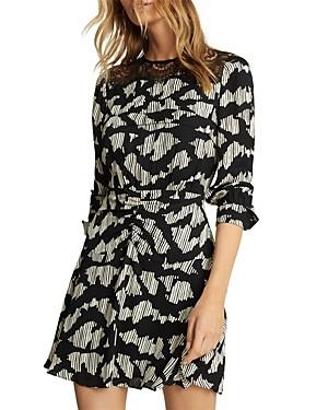 Reiss Miya Printed Lace Trim Dress
