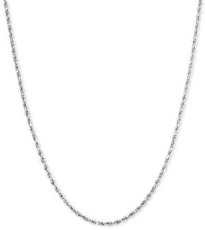 """Macy's Glitter Rope 18"""" Chain Necklace in 14k White Gold"""