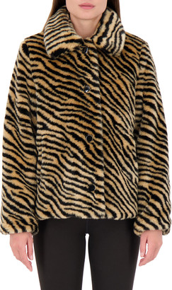 Kate Spade Novelty Zebra Faux Fur Coat