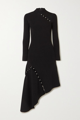 Alice + Olivia Alice Olivia - Kam Asymmetric Faux Pearl-embellished Stretch-cady Dress - Black