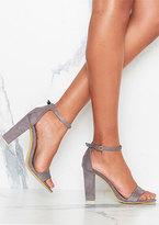Missy Empire Venisa Grey Suede Ankle Strap Heels