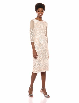 JS Collections Women's Embroidered Midi Sheath