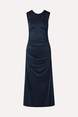 By Malene Birger Cutout Ruched Stretch-jersey Midi Dress - Navy