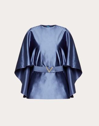 Valentino Duchesse-silk Top With V Pave Belt Women Dark Air Force Blue Silk 100% 38