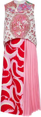 Marni Printed Satin Jacquard Midi Dress