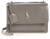 Saint Laurent 'Medium Monogram Sunset' Croc Embossed Leather Shoulder Bag - Grey