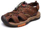 PPXID Big Boy's Men's Nubuck Leather Closed Toe Outdoor Beach Sandals-Yellow 43 CN
