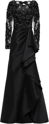 Badgley Mischka Embellished Tulle-paneled Ruffled Faille Gown