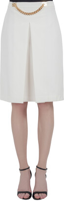 Sophie Hulme Ivory Stretch Gabardine Chain Embellished Inverted Pleat Front Skirt M